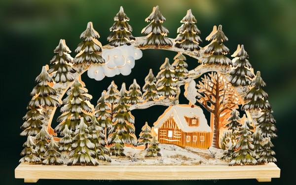 3D-Schwibbogen kl., Schneehütte handbemalt winterlich