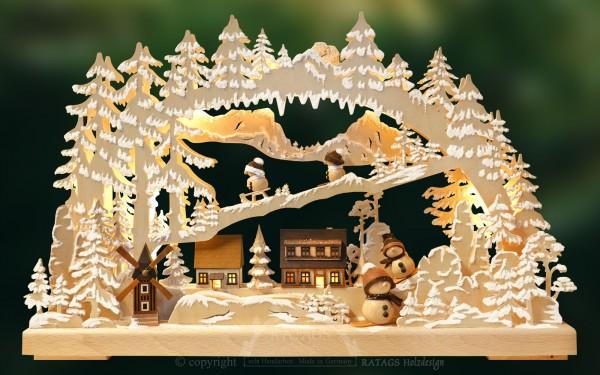 Schwibbogen Winterdorf, Deko, Weihnachten, echt Erzgebirge