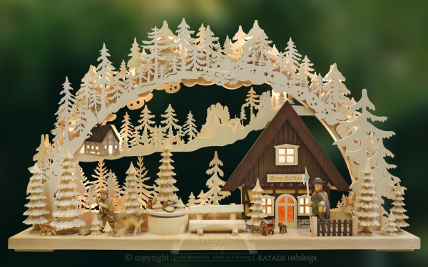 Schwibbogen Altes Zollhaus, Weihnachten, echt Erzgebirge