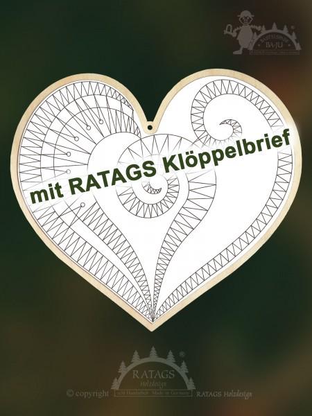 Kloeppeln, Herz, Erzgebirge, Deko, Fensterbild