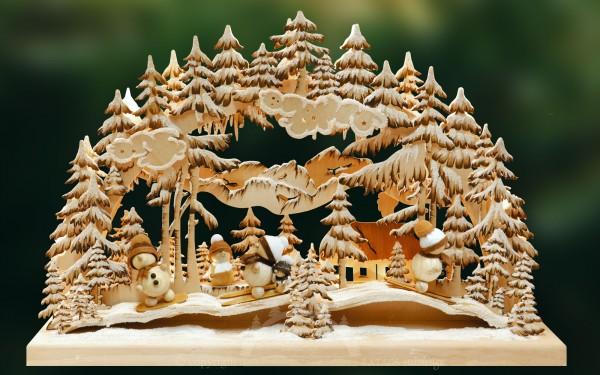 Schwibbogen Rutschpartie, Weihnachten, echt Erzgebirge