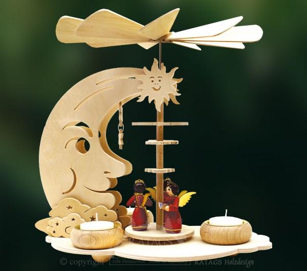 Mondpyramide Teelichter, Weihnachten, echt Erzgebirge