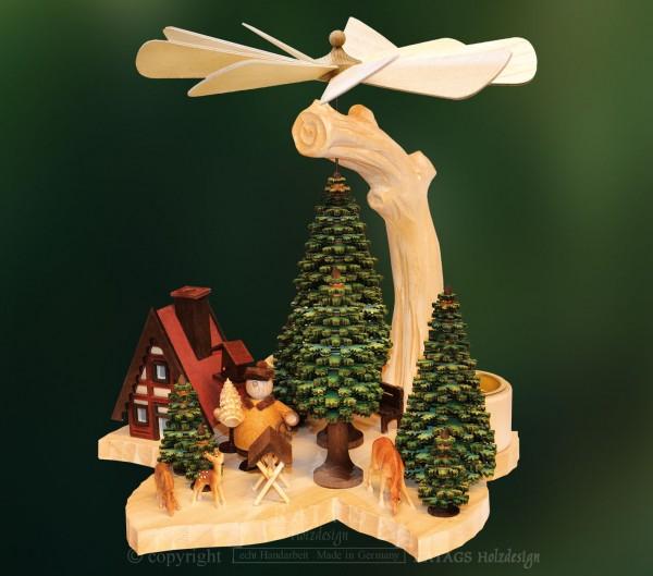 Massivholzpyramide Baum, Deko Weihnachten, echt Erzgebirge