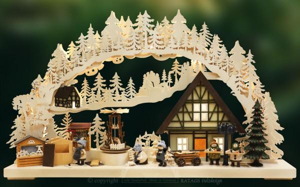 Schwibbogen Weihnachtsmarkt, Deko, echt Erzgebirge