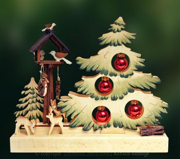 Tischschmuck Tannenbaum mit roten Kugeln, grün schattiert, LED