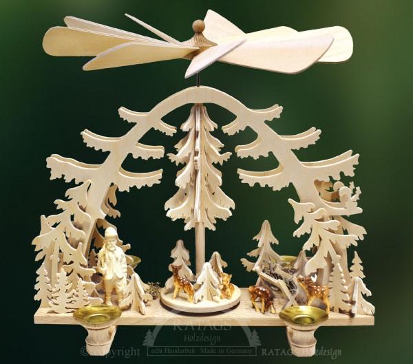 Waldpyramide Rehe, Deko, Weihnachten, echt Erzgebirge