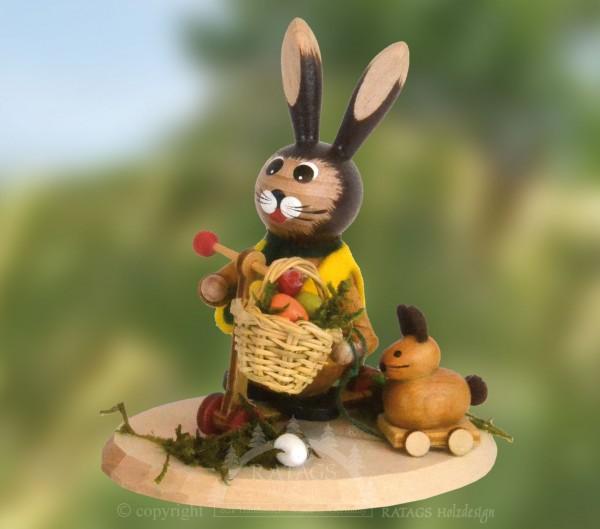 Hase mit Roller und Spielzeug, Ostern, echt Erzgebirge