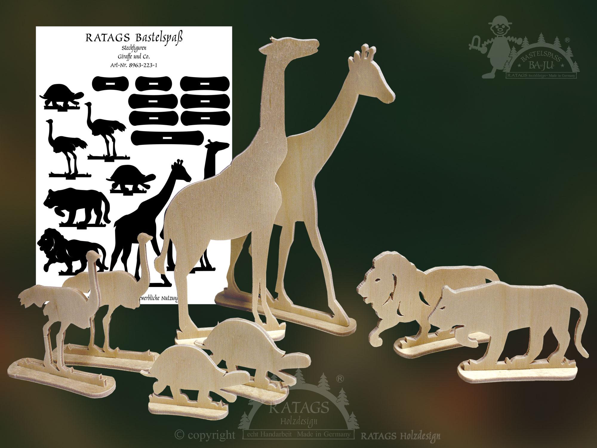Steckfiguren Zum Basteln Giraffe Co Zum Aussägen
