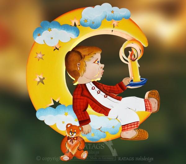 beleuchtetes Fensterbild Mond Junge, Deko, echt Erzgebirge