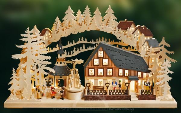 Schwibbogen Pyramidenhaus, Weihnachten, echt Erzgebirge