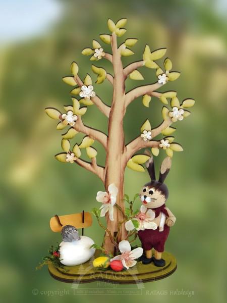 Hase mit Osterbaum und Blumen, Ostern, echt Erzgebirge