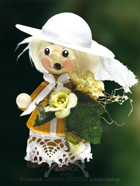 Raeuchermann Braut mit Blumenstrauß, Deko, echt Erzgebirge