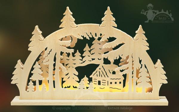 Schwibbogen Waldhuette, Deko Weihnachten, echt Erzgebirge