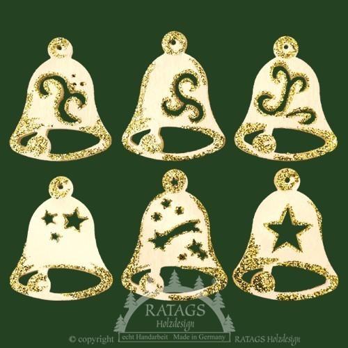 Baumbehang, Deko, echt Erzgebirge, Glocken, Goldglitter