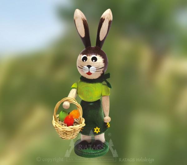 Hasenm=E4dchen mit Korb und Eiern, Ostern, echt Erzgebirge