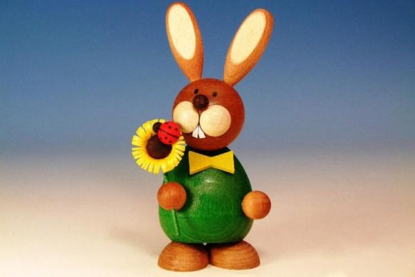 Osterhase stehend mit Sonnenblume, Paul Ullrich, Echt Erzgeb