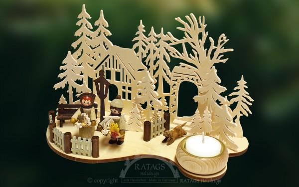 Tischschmuck Lichterteller Deko Weihnachten, echt Erzgebirge