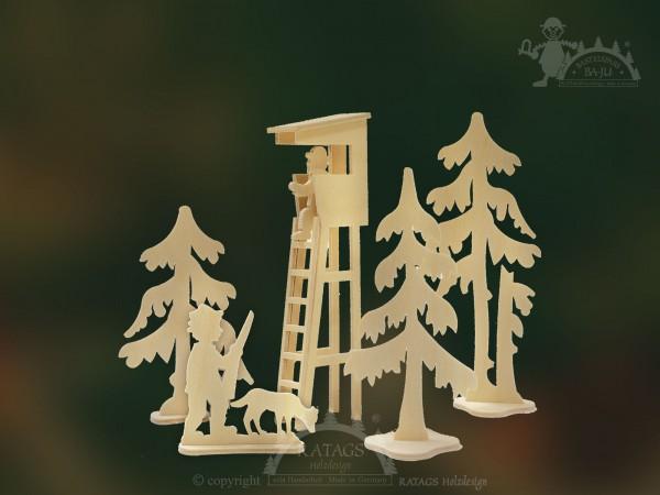Steckfiguren, Bastel, Jägerstand, Wald