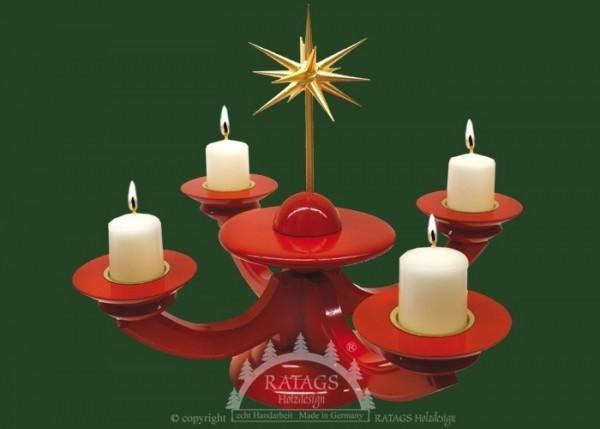 Adventsleuchter rot, Massivholz