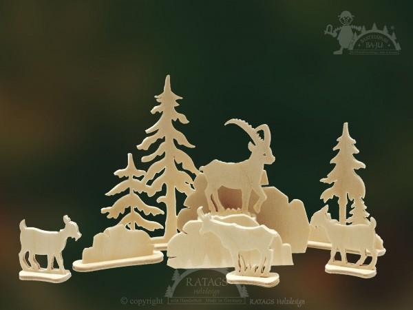 Steckfigur, Ziegen, Berge, Felsen, Bäume