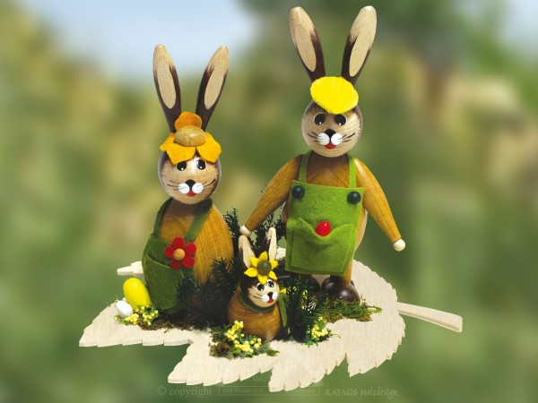 Tischdeko Hasenfamilie auf Blatt, Ostern, echt Erzgebirge