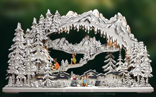3D-Schwibbogen mtl., Wintersport, farbig grau, Raureif