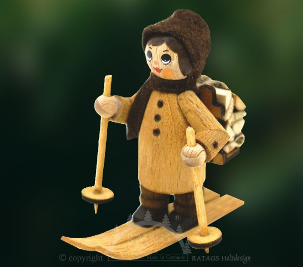 Figur, Winterholzmann, Ski und Holzkiepe