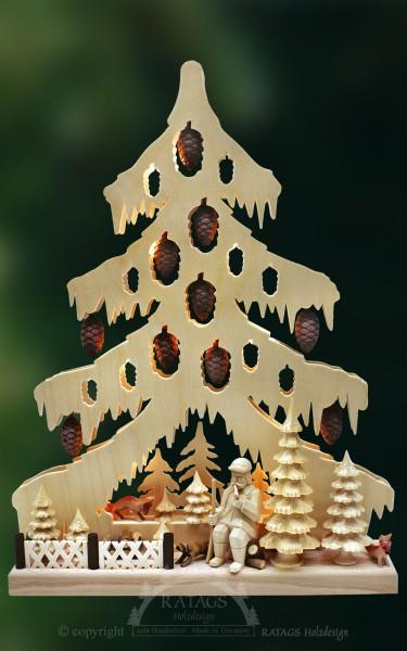 beleuchtete Tanne Ruhepause, Weihnachten, echt Erzgebirge