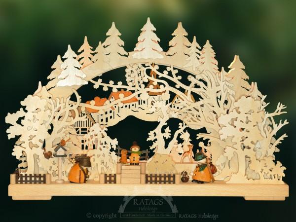 Schwibbogen Nachbarschaft, Weihnachten, echt Erzgebirge