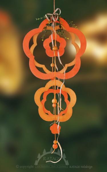 Fensterdeko, Blumen, orange, Band, echt Erzgebirge