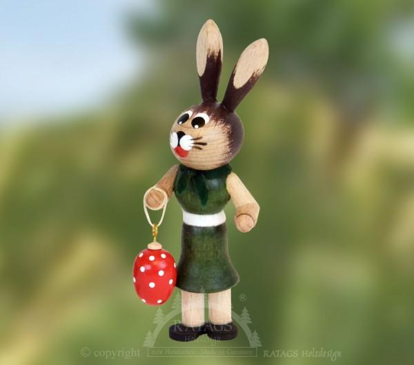 Hasenm=E4dchen mit Ei, Ostern, echt Erzgebirge