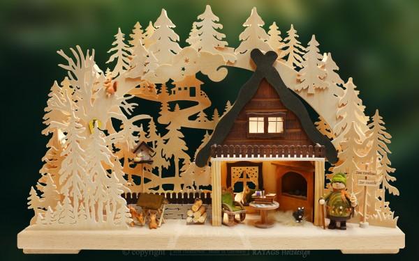 Schwibbogen Zum Forsthaus, Weihnachten, echt Erzgebirge