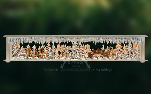 Raumleuchte gr., Brücke, Wald, Rehe, geschnitzte Figuren,