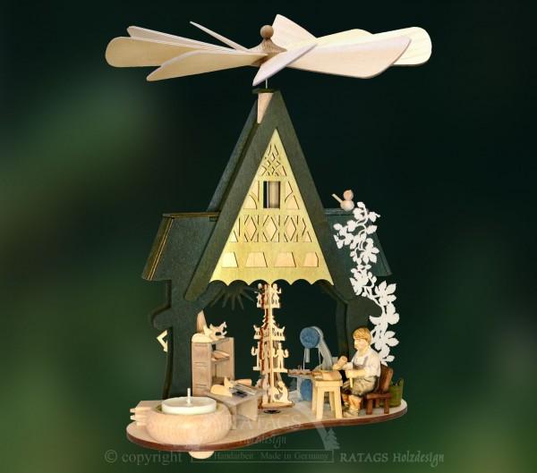 Pyramide Handwerksstube, Teelicht, echt Erzgebirge