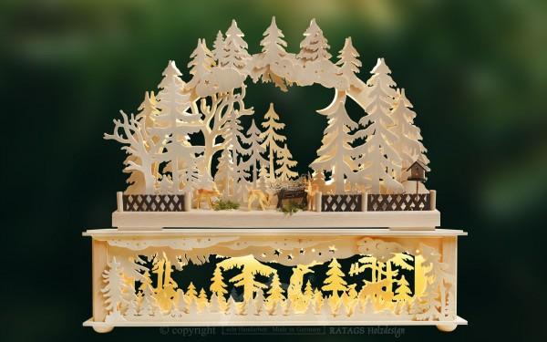 Raumleuchte und Schwibbogen im Set, Wald, Rehe, Weihnacht