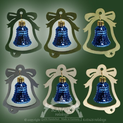 Baumbehang, Deko, Glocke, echt Erzgebirge, blaue Glocke, 3D