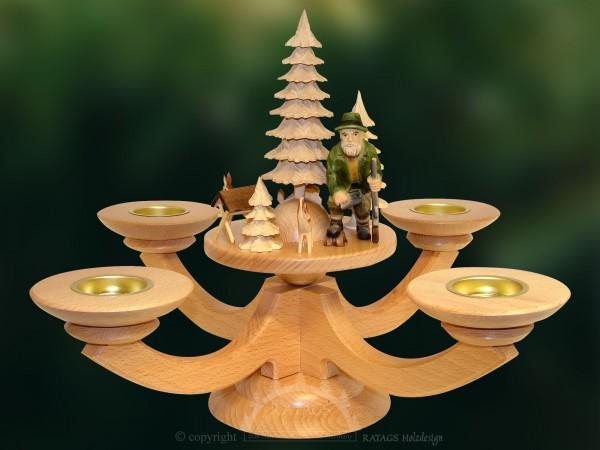 Vierarm-Tischleuchter natur, Figur Förster, Massivholz