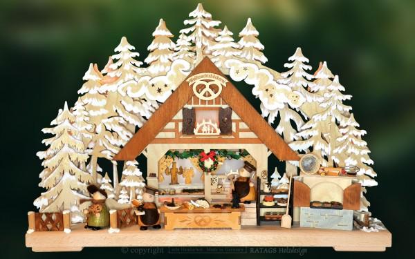 3D-Schwibbogen Weihnachtsbäckerei, Raureif, Deko, Holz