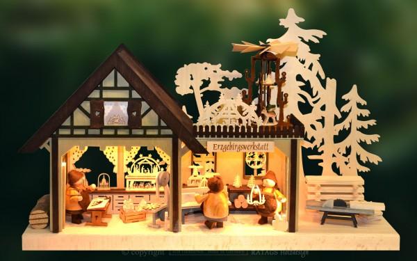 3D-Schwibbogen Werkstatt, Weihnachten, echt Erzgebirge
