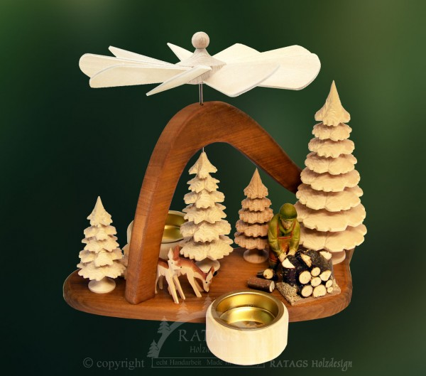 Mini-Massivholzpyramide Waldarbeiter, Deko, echt Erzgebirge