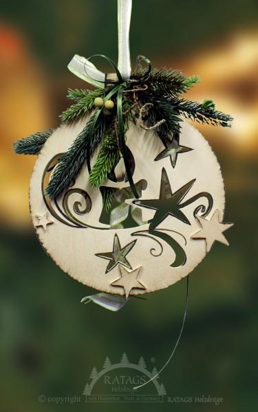 Fensterdeko, Floristik, Sternchen, Kerze, grün, handbemalt