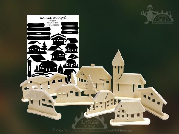 Steckfigur, Häuser, Bastel, Deko, Spiel