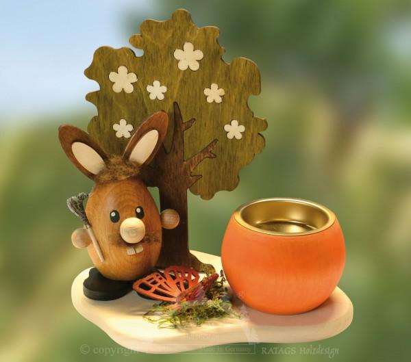 Teelichthalter Hase am Baum, Ostern, echt Erzgebirge