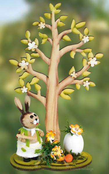 H=E4sin mit Osterbaum und Eiern, echt Erzgebirge