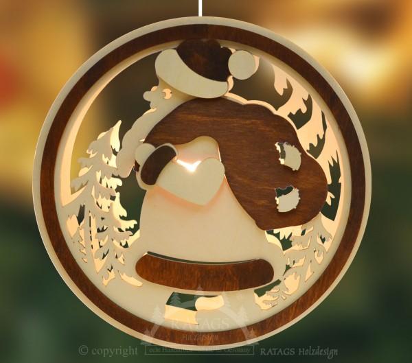 beleuchtetes Fensterbild Weihnachtsmann, echt Erzgebirge