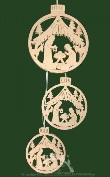 Fensterbild 3tlg, beleuchtet, Kugel mit Geburt Christi
