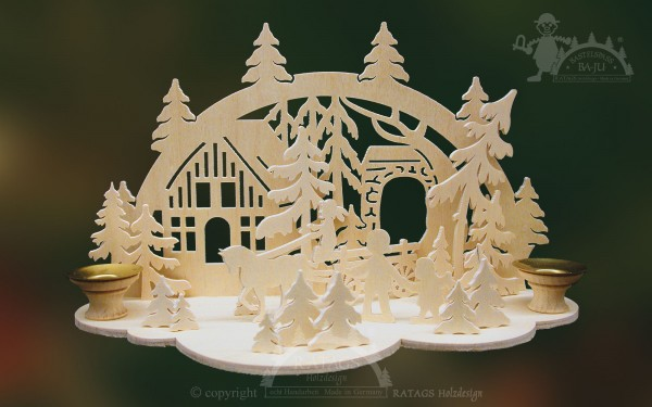 Tischschmuck Pferdegespann, Weihnachten, echt Erzgebirge