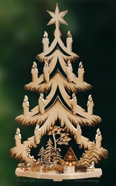 beleuchtete Tanne Waldhuette, Weihnachten, echt Erzgebirge