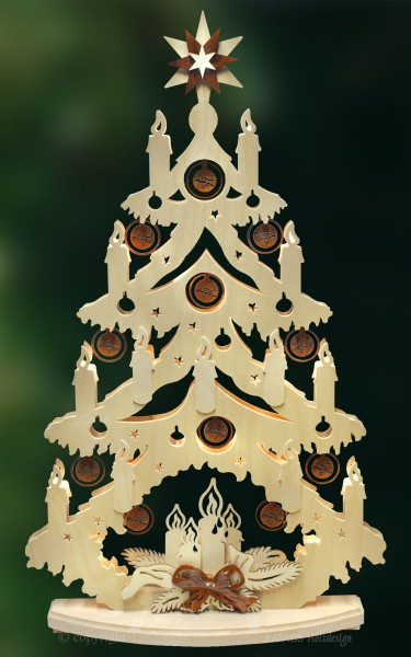 beleuchtete Tanne Kerzen, Deko Weihnachten, echt Erzgebirge