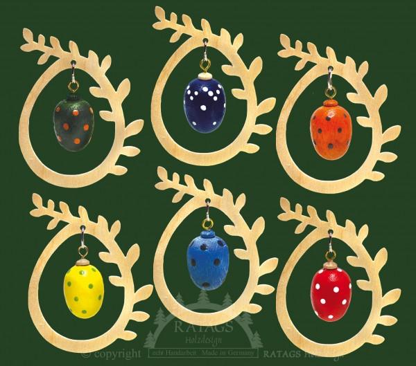 Baumbehang 6er Set, Ei im Ei, natur, gepunktet